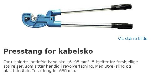 Presstang for kabelsko