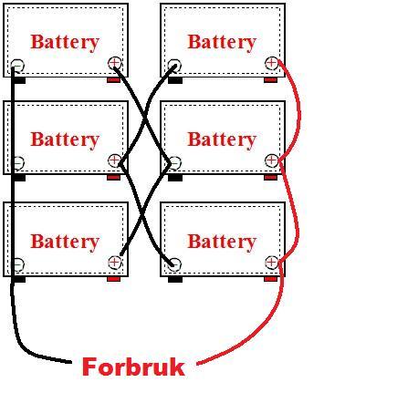 Hvordan koble 4 batterier slik at ein får 24 volt