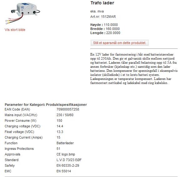 Vil et aggregat på 770W kunne drive en 45amp lader