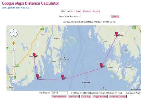 google kart måle avstand Måling av avstand med Google Map   Båtforumet   baatplassen.no  google kart måle avstand